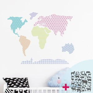Set nástenných samolepiek Ambiance World Map Pastel with Animals