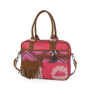 Ružovo-biela kabelka Lois, 38 x 29 cm