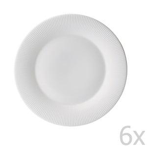 Sada 6 tanierov z kostného porcelánu Flute, 21 cm