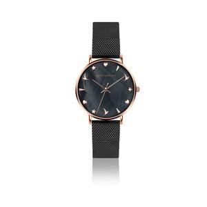 Dámske hodinky s čiernym remienkom z antikoro ocele Emily Westwood Aura