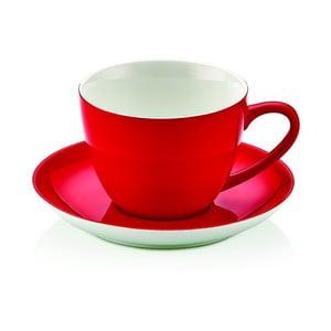 Červený porcelánový hrnek s tanierikom Kirmizi Cay Seti