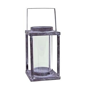Sivý plechový lampáš Ego Dekor Shabby, výška 28cm