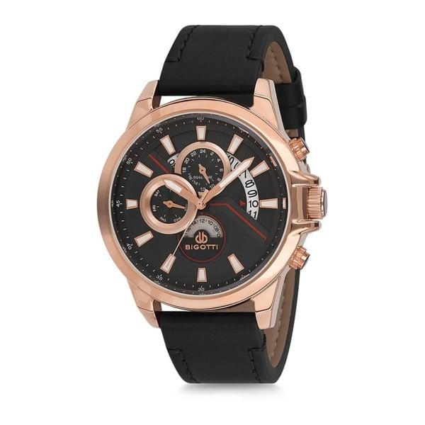 Pánske hodinky s čiernym koženým remienkom Bigotti Milano Tom