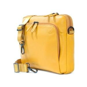 Žltá taška na rameno z talianskej kože Tucano One Messanger