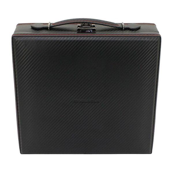 Čierno-červený box na 12 hodiniek Friedrich Lederwaren Carbon