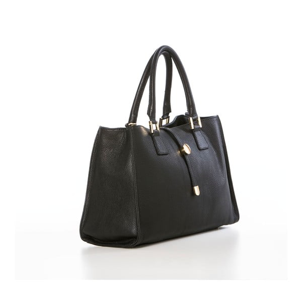 Čierna kožená kabelka Federica Bassi Dol