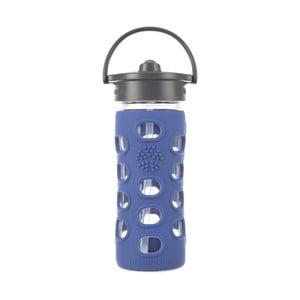 Sklenená fľaša na vodu so silikónovou slamkou a chráničom Lifefactory Cobalt, 350 ml