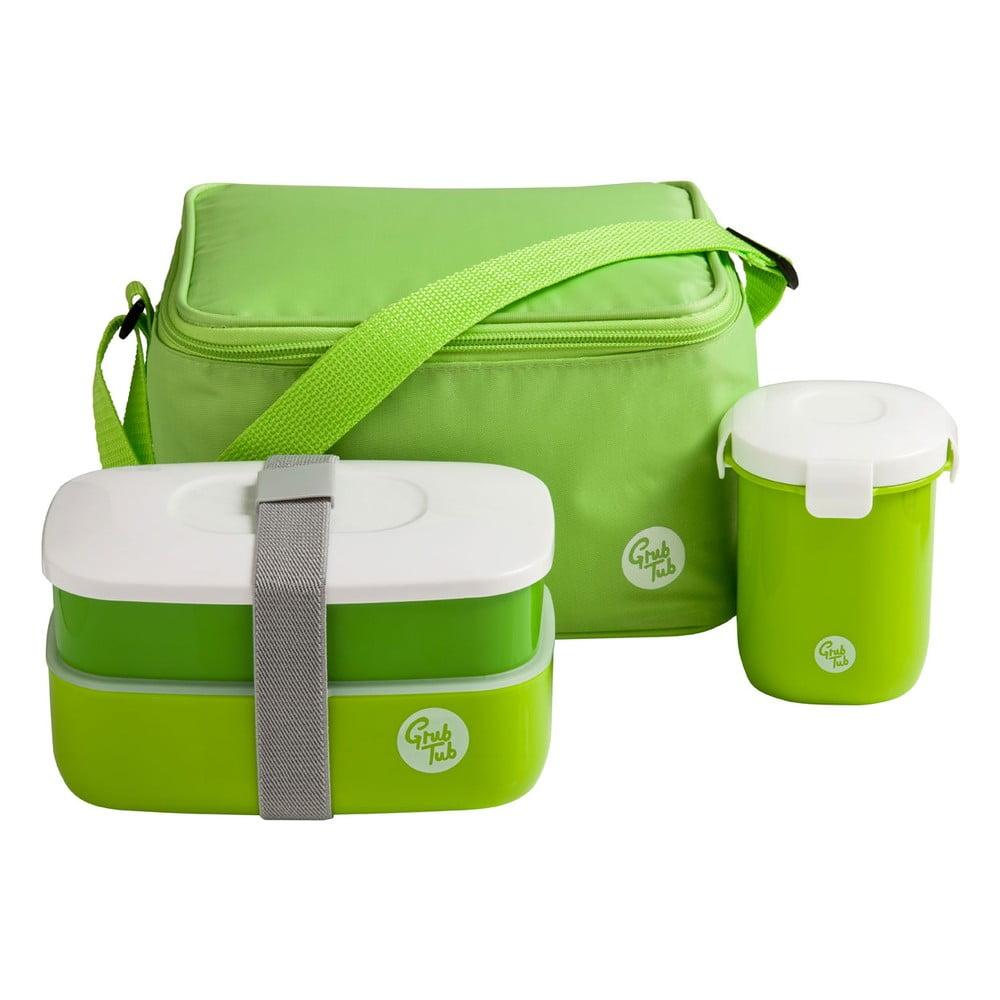 Set zeleného desiatového boxu, hrnčeka a tašky Premier Housewares Grub Tub, 21 × 13 cm
