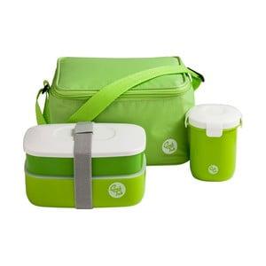 Set zeleného desiatového boxu, hrnčeka a tašky Premier Housewares Grub Tub, 21×13cm
