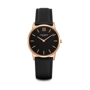 Dámske čierne hodinky s koženým remienkom a ciferníkom v ružovozlatej farbe Eastside Upper Union