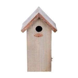 Vtáčia búdka z borovicového dreva s medenou strechou Esschert Design Antik, výška 30 cm