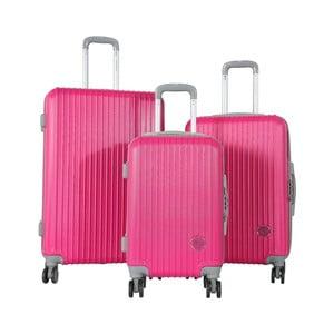 Sada 3 ružových cestovných kufrov na kolieskách Travel World Emilia