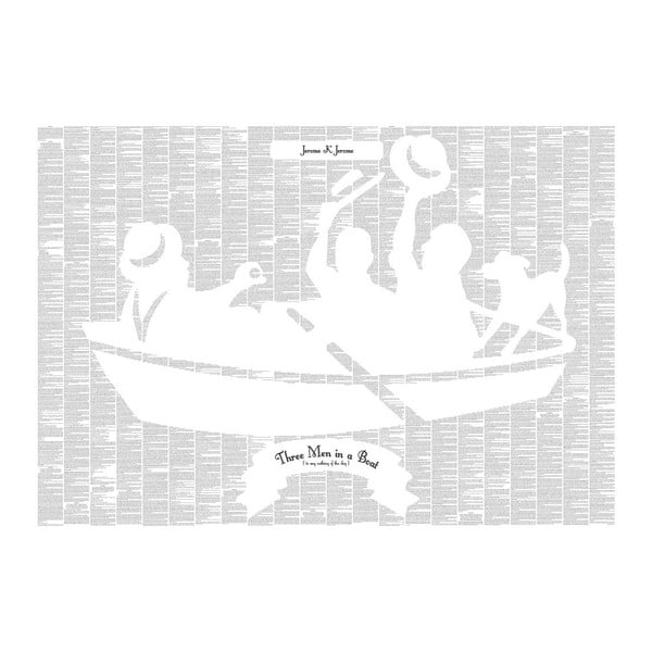 Knižný plagát Traja muži v člne, o psovi nehovoriac, 100x70 cm