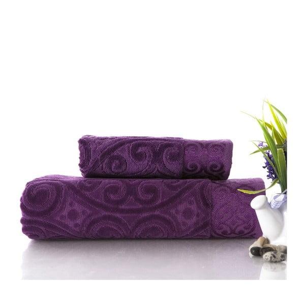 Sada uteráka a osušky Hanzade Purple, 50x90 cm a 70x140 cm