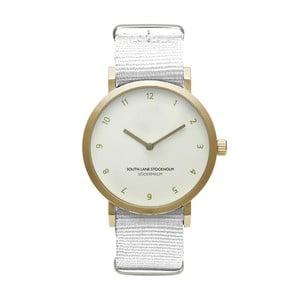 Unisex hodinky s bielym remienkom South Lane Stockholm Sodermalm Gold Big