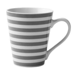 Sivo-biely porcelánový hrnček KJ Collection Striped