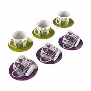 Set 6 porcelánových šálok s tanierikmi Versa Cities, 220 ml