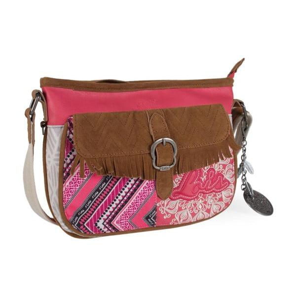Ružovo-biela kabelka Lois, 28 x 21 cm
