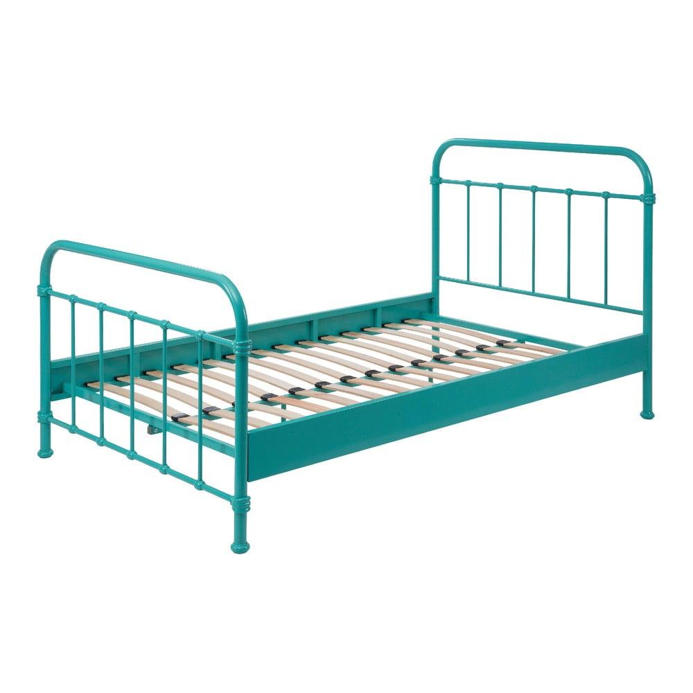 Mätovozelená kovová detská posteľ Vipack New York, 120 × 200 cm