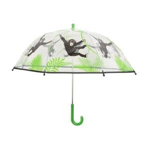 Zeleno-bílý dáždnik s potlačou opičiek Esschert Design Animals