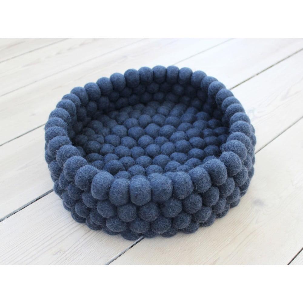 Tmavomodrý guľôčkový vlnený úložný košík Wooldot Ball Basket, ⌀ 28 cm
