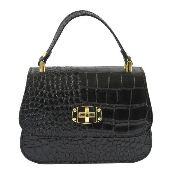 Čierna kožená kabelka Chicca Borse Caroline