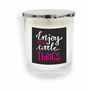 Biela sviečka North Carolina Scandinavian Home Decors Motto Glass Candle V1