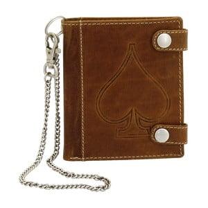 Hnedá kožená peňaženka s řetízkem Friedrich Lederwaren Biker Ace Of Spades