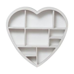 Drevená nástenná biela knižnica Biscottini Heart, 61 x 60 cm