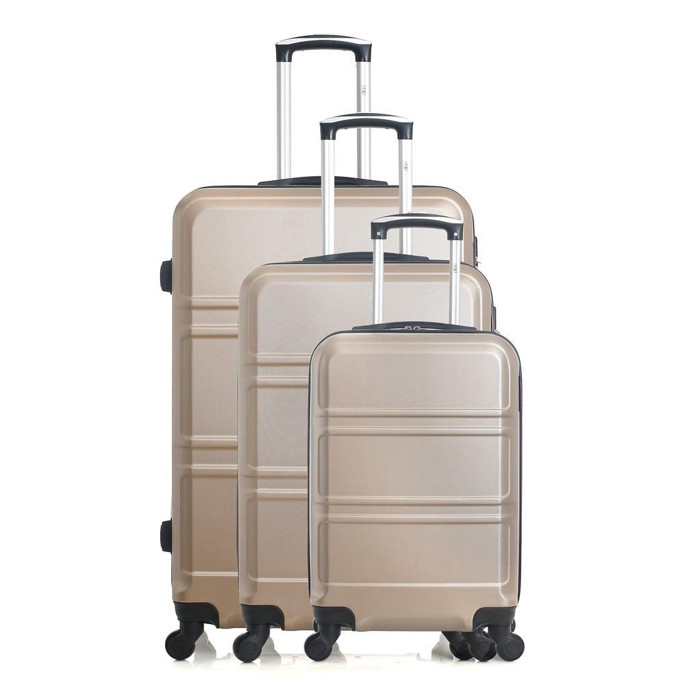 67165e8f605ea Sada 3 krémovobielych cestovných kufrov na kolieskach Hero Utah