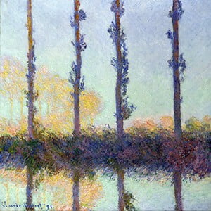 Obraz Claude Monet - The Four Trees, 80x80 cm