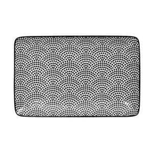 Černo-biely obdĺžnikový tanier Tokyo Design Studio Nippon Dot, 21×13,5 cm