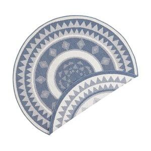 Modro-krémový obojstranný koberec vhodný aj do exteriéru Bougari Jamaica, ⌀ 140 cm