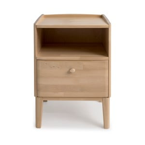 Ručne vyrábaný nočný stolík z masívneho brezového dreva sozásuvkou Kiteen Matinea
