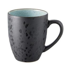 Černý kameninový hrnek s bledě modrou vnitřní glazurou Bitz Mensa, 300 ml