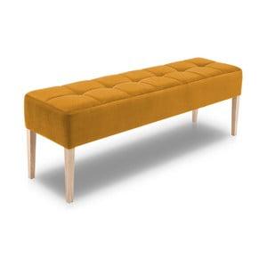 Horčicovožltá lavica s dubovými nohami Jakobsen home Marino, dĺžka 152 cm