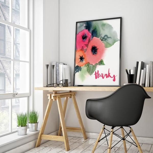Plagát s kvetmi Thanks, 30 x 40 cm