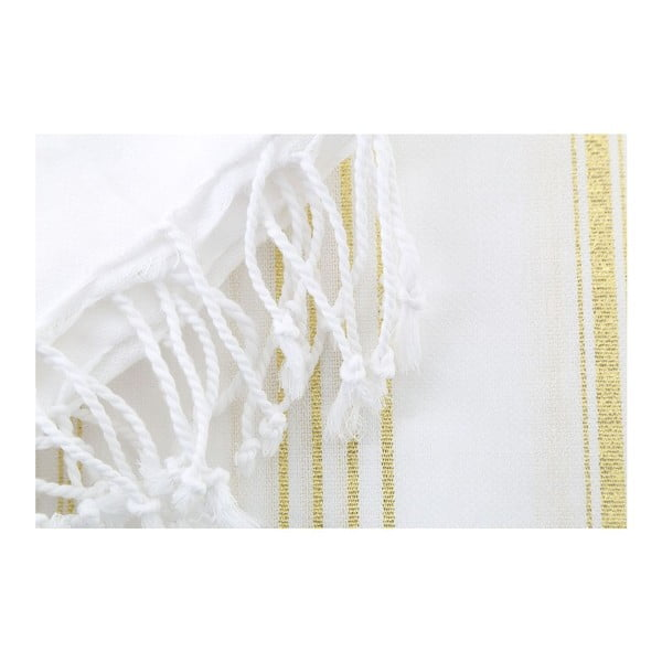 Bielo-zlatá bavlnená osuška Hammam Sultan, 100×180cm
