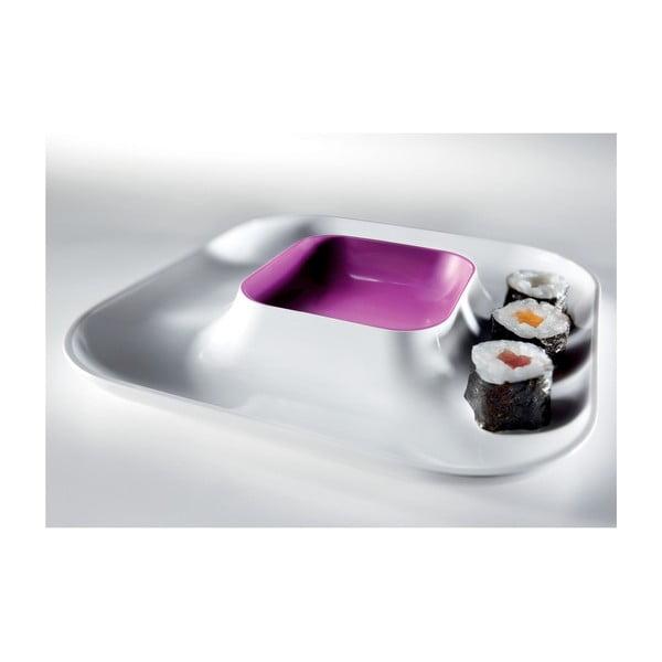 Fialový tanier na jednohubky Entity, 21x21cm