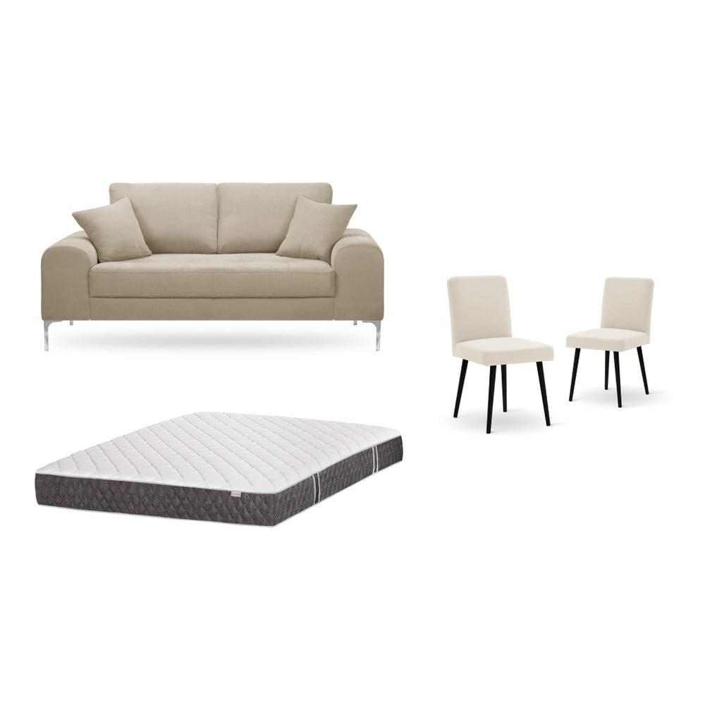 Set dvojmiestnej sivobéžovej pohovky, 2 krémových stoličiek a matraca 140 × 200 cm Home Essentials