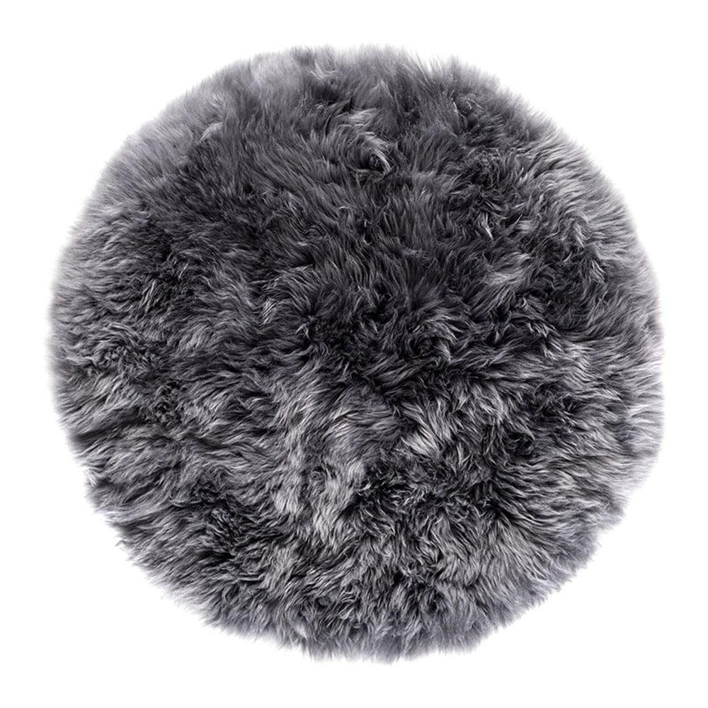Sivý okrúhly koberec z ovčej vlny Royal Dream Zealand, Ø 70 cm
