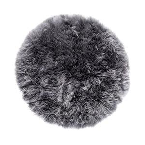 Sivý koberec z ovčej kožušiny Royal Dream Zealand, Ø70 cm