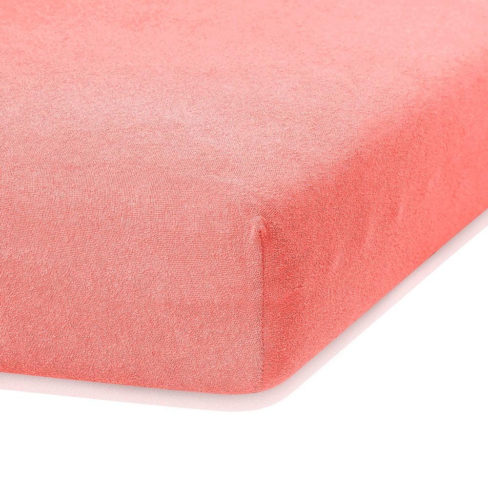 Korálovoružová elastická plachta s vysokým podielom bavlny AmeliaHome Ruby, 200 x 140-160 cm