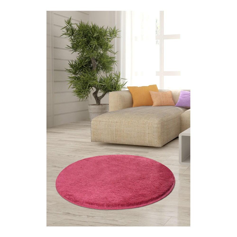 Ružový koberec Milano, ⌀ 90 cm