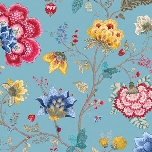 Tapeta Pip Studio Floral Fantasy, 0,52x10 m, svetlomodrá