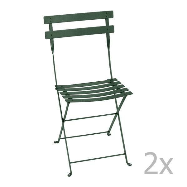 Sada 2 tmavozelených skladacích stoličiek Fermob Bistro