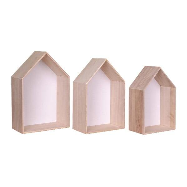 Sada 3 bielych drevených políc House Nordic Verona