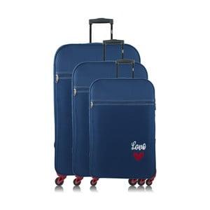 Sada 3 modrých cestovných kufrov na kolieskach INFINITIF Love