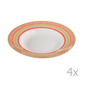 Sada 4 porcelánových tanierov na polievku Oilily 24,5 cm, oranžová