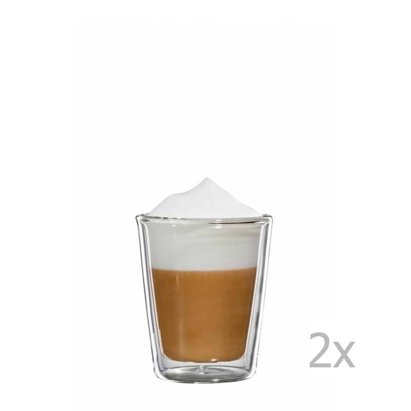 Sada 2 sklenených hrnčekov na cappuccino bloomix Milano